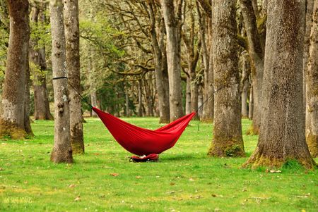 Sleeping in a lightweight hammock at outdoor or park