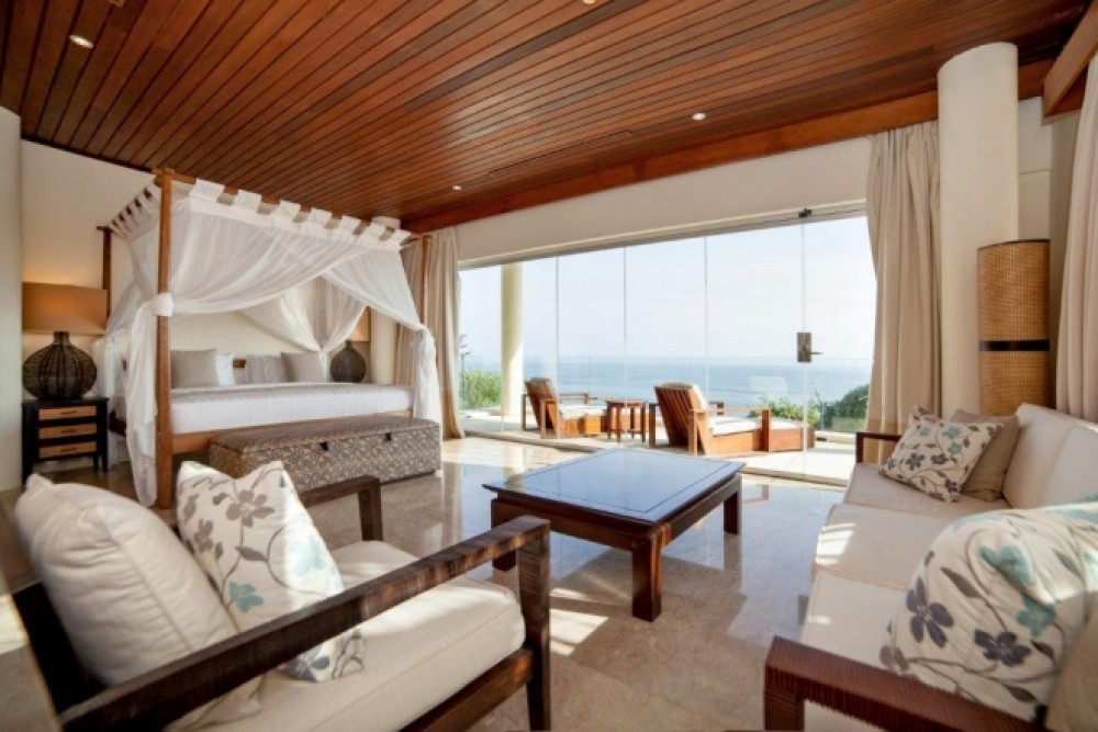 main bedroom with ocean view in beachfront villa bali